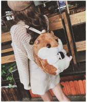 New hamster plush toy backpack three in one hand warmer backpack girl cute bag