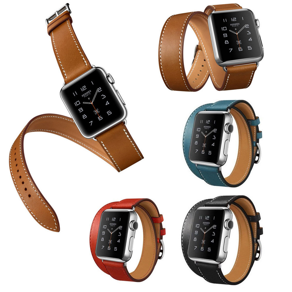 Luxury Extra Long 38mm 42mm Genuine Leather Band Double Tour Bracelet Leather Strap Watchband for Apple Watch In Stock Men women new arrival long genuine apple watch band leather watchband strap double tour bracelet for apple watch 38 42mm