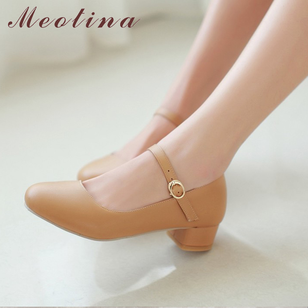 Meotina Women Shoes 2019 Pumps Spring Mary Jane Thick Low Heels Shoes Female Buckle Round Toe Shoes Pink Blue Big Size 9 42 43