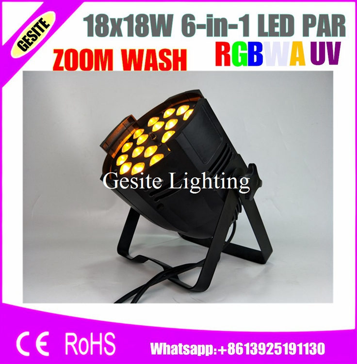 Free Shipping 6pcs/Lot DMX Disco Stage Lights LED Par Can 18x18W RGBWA UV Led Par Zoom Light Stage Light for Show/