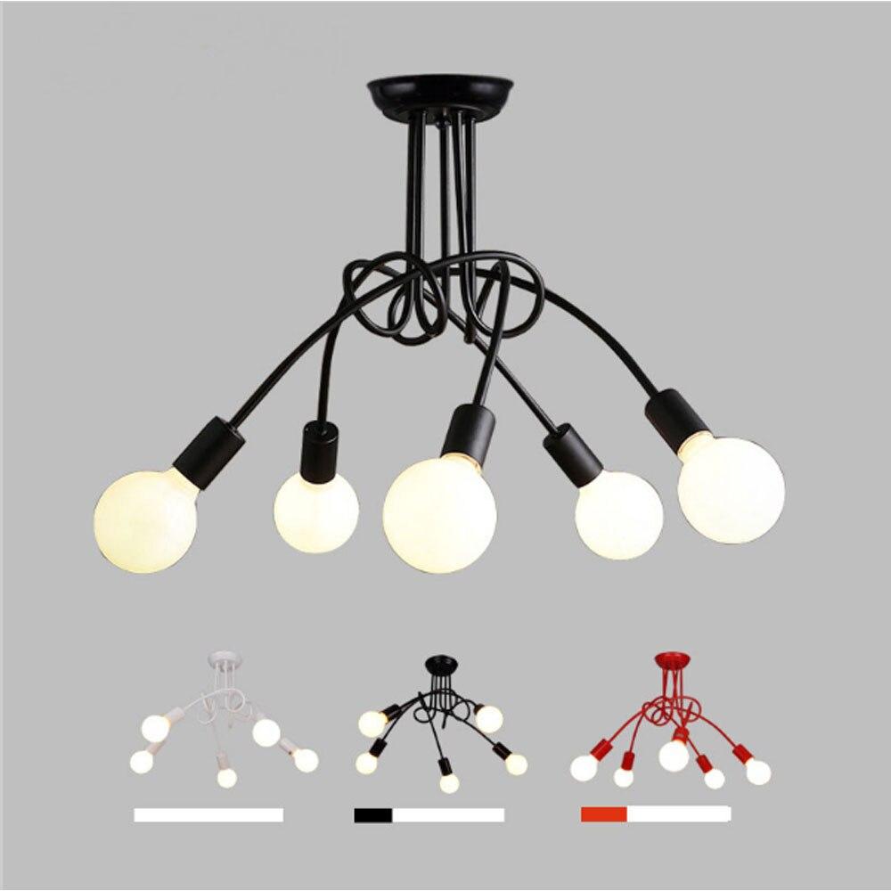 ФОТО Retro Creative Black/White/Red 3/5 Heads E27 Bulb Ceiling Lamp Vintage Personality Modern Loft Cafe Bar Brief LED Ceiling Light