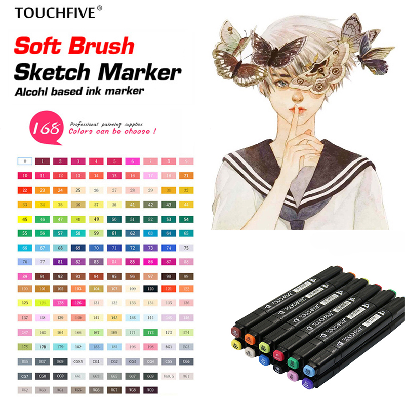 TOUCHFive 168 Colors Single Black Acrylic Art Markers Dual Head Alcohol Sketch Markers Pen For Drawing Manga Felt Brush Pens Art Supplies