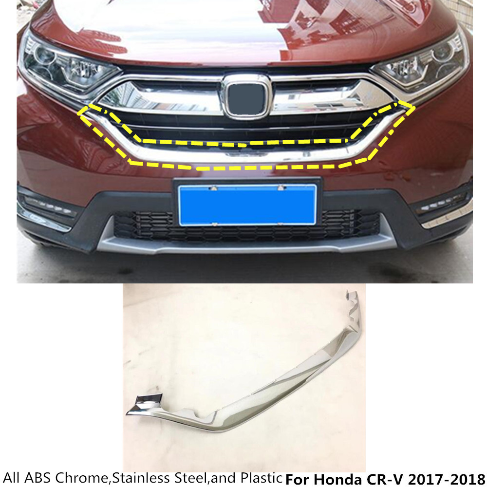 цены High quality Car Body styling ABS chrome trim Front Grid Grill Grille Racing panel lamp frame 1pcs For Honda CRV CR-V 2017 2018