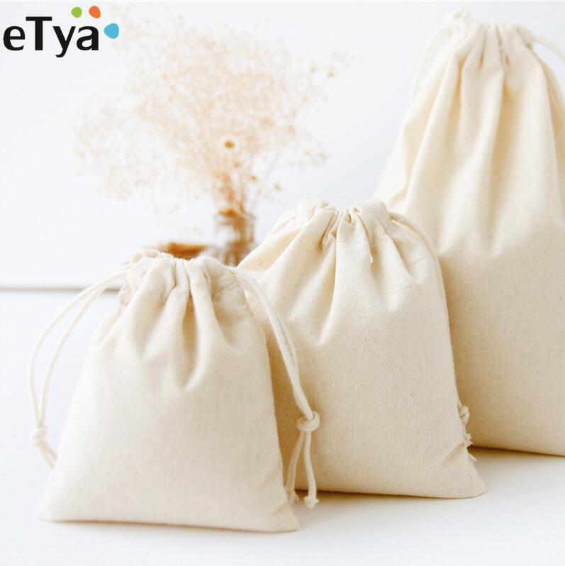 ETya Reusable Cotton Drawstring Shopping Bag Travel Eco Foldable Women Men Shopper Grocery Tote Storage Bags