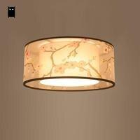 Round Fabric Shade Ume Ceiling Light Fixture Chinese Modern Simple Japanese Plafon Lamp Luminaria Indoor Home Bedroom Study Room