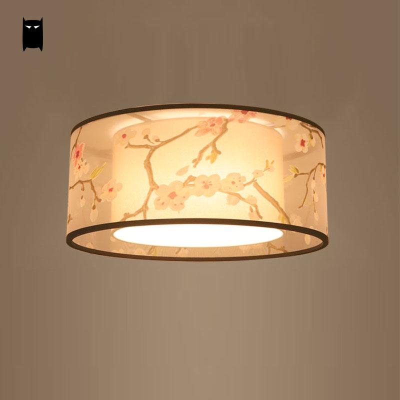 Round Fabric Shade Ume Ceiling Light Fixture Chinese Modern Simple Japanese Plafon Lamp Luminaria Indoor Home Bedroom Study Room