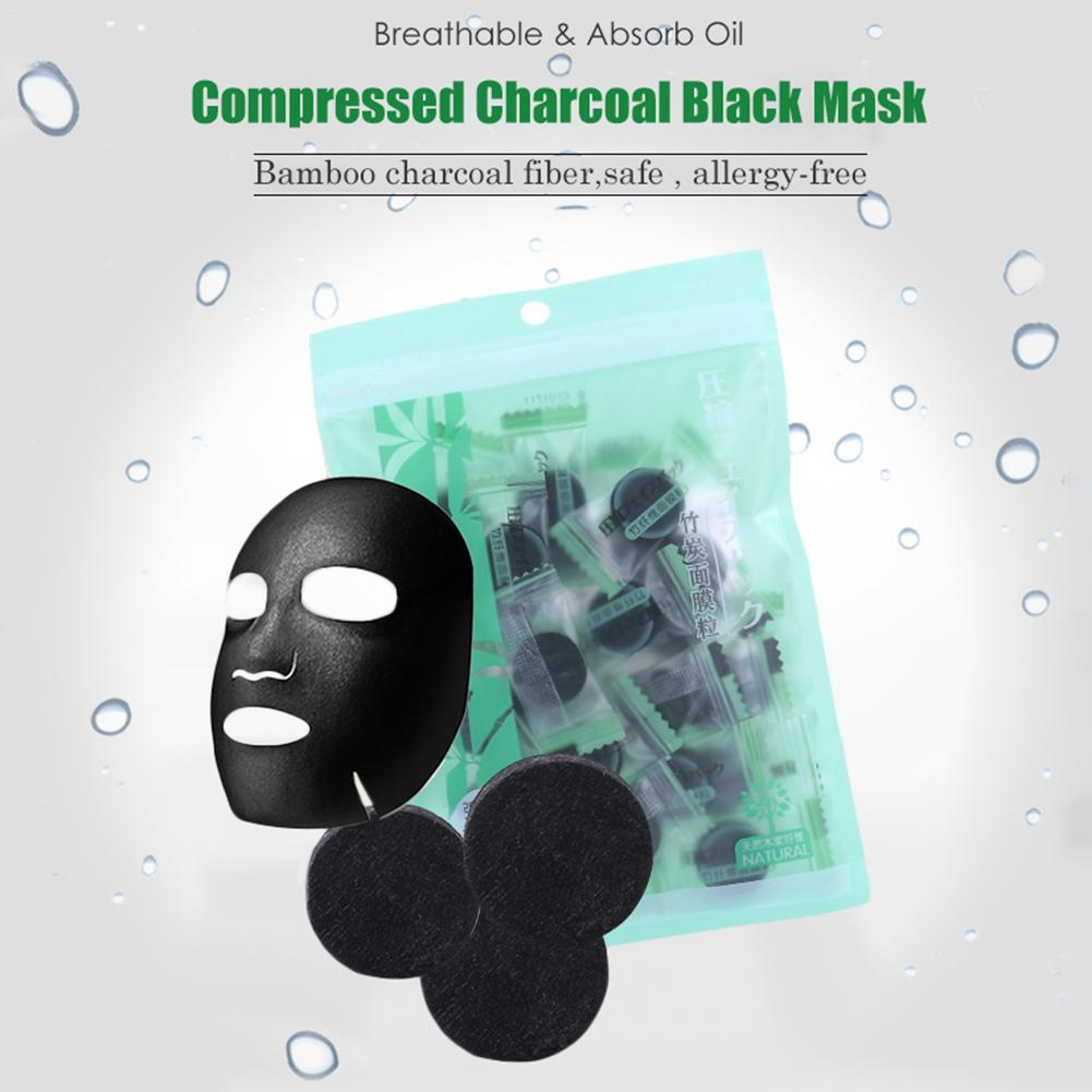 Skin Care Face 30pcs Black Compressed Mask Disposable Facial Natural Bamboo Charcoal Black Mask Paper Skin Care Wrapped Masks Diy Beauty Makeup