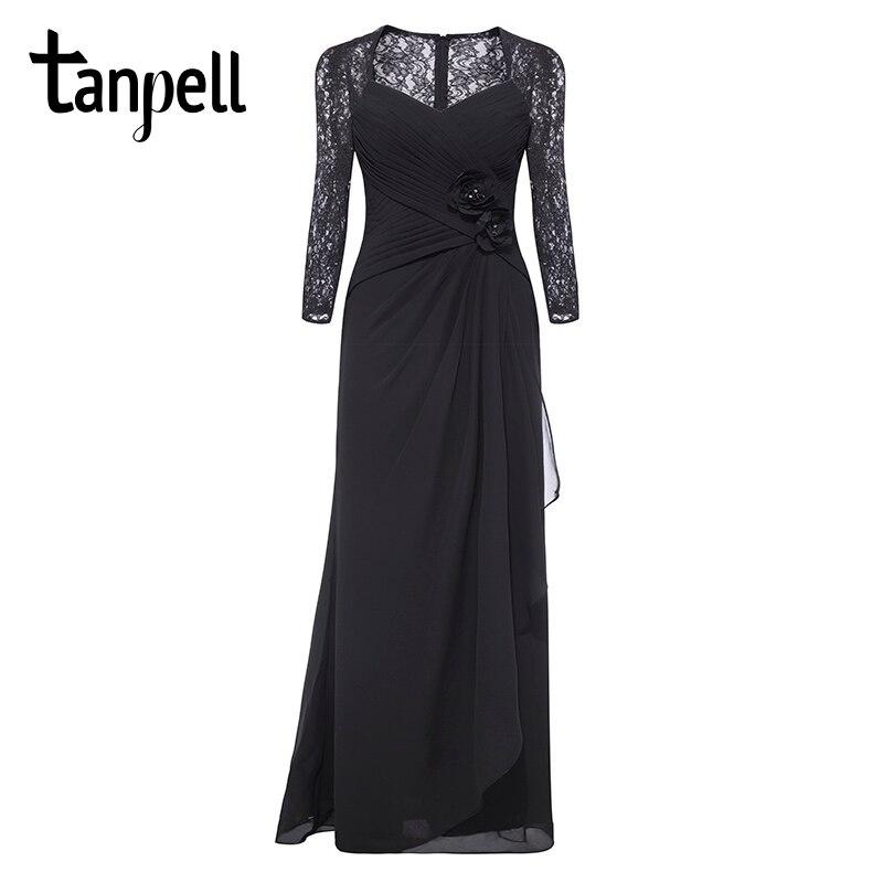 Tanpell 3/4 рукава вечернее платье с v-образным вырезом черные цветы кружева длина до пола платья женские вечерние Плиссированные Прямо длинное ...