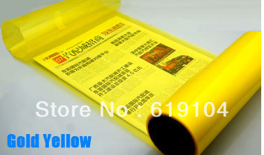 Hot selling 0.3*10m high transmittance gold yellow headlights film car personality stickers