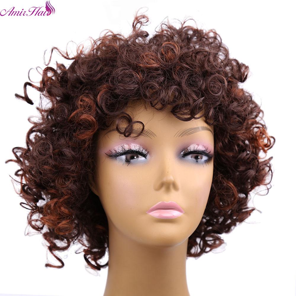 amir pelo corto rizado rizado pelucas afro del pelo sinttico con inch ombre marrn