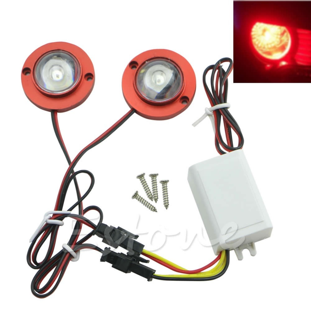Car Auto 2 LED Strobe Bulb Light Emergency Warning Flash 12V with Controller ...