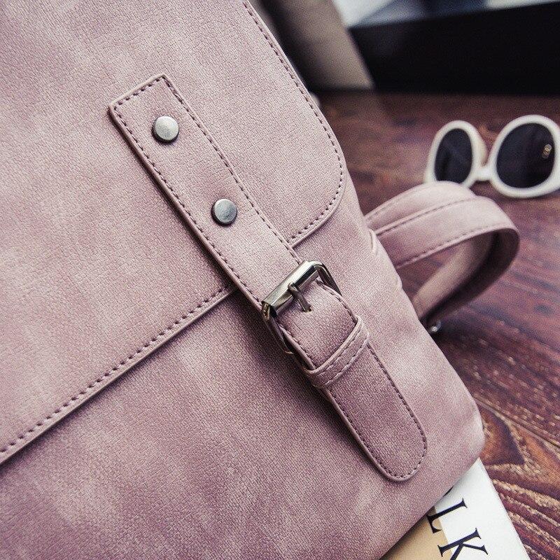 MJ Women Leather Backpack Female PU Leather Travel Bag Large Solid Color Travel Backpack Big School Bag for Teenage Girls (22)