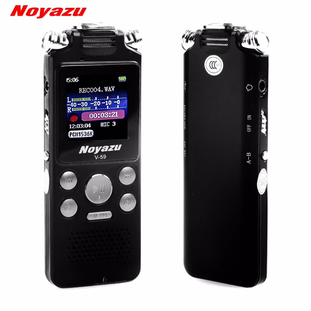 NOYAZU Rapide De Charge 16g Deux voies Microphone Enregistrement Sonore Audio Digital Voice Recorder Réduction Du Bruit Professionnel Mp3 Lecteur