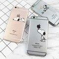 Para iphone 6 s 6 7 plus 5 5S sí snoopie perro pintura chef corazón clear case cubierta suave