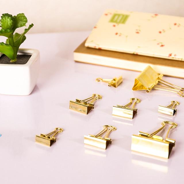 3 unids/lote Color sólido oro Metal Binder Clips notas carta papel Clip suministros de oficina