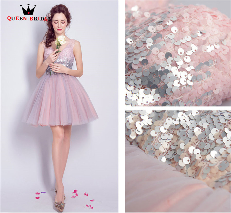 QUEEN BRIDAL Evening Dresses Pink Crystal Beaded Tulle Short Luxury Prom  Party Dress Evening Gown 2018 NEW Vestido De Festa JW39-in Evening Dresses  from ... 918f85aa9771