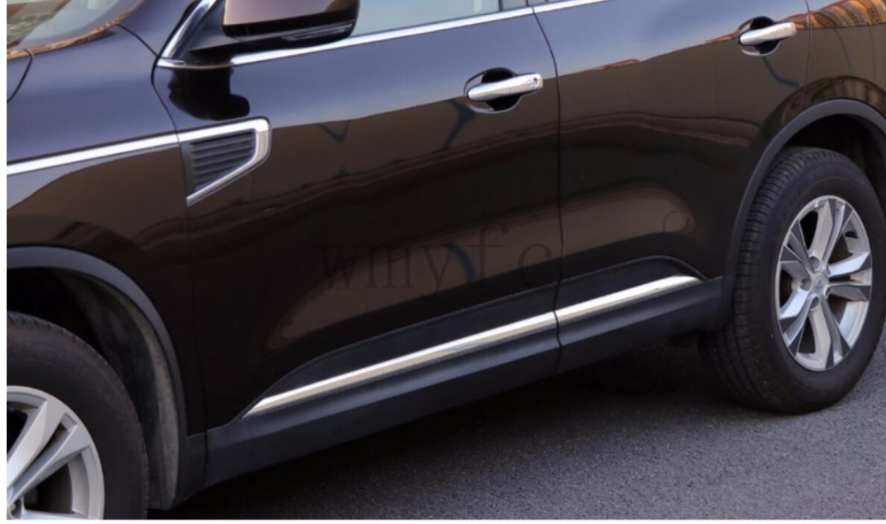 Car Side Door Body Trim stainless steel For Renault Koleos 2017 2018 Molding Plate Cover Sticker Glossy Silver Accessories stainless steel side body side door molding cover trim for 2014 mazda 6 atenza