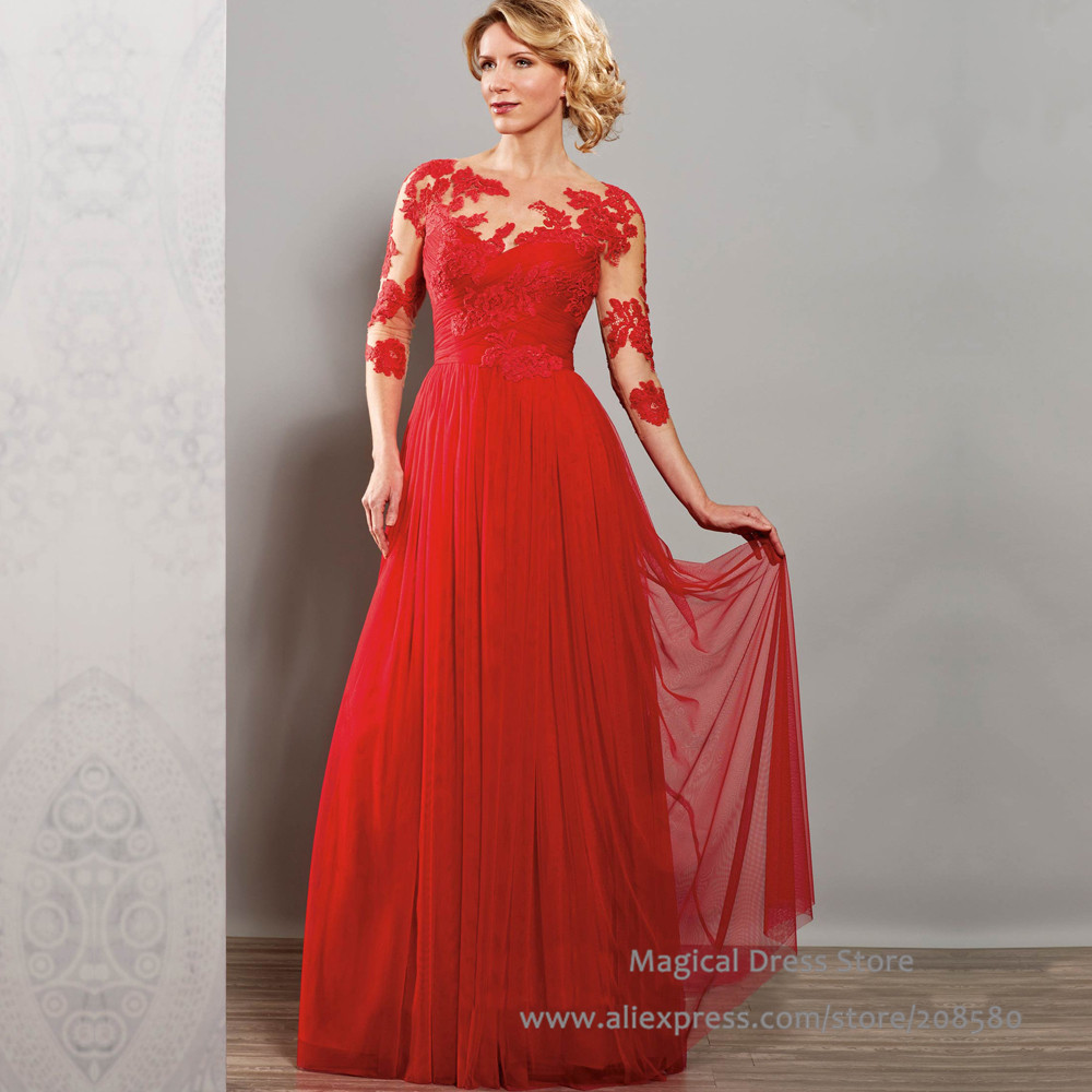 Red Long Mother of the Bride Dresses