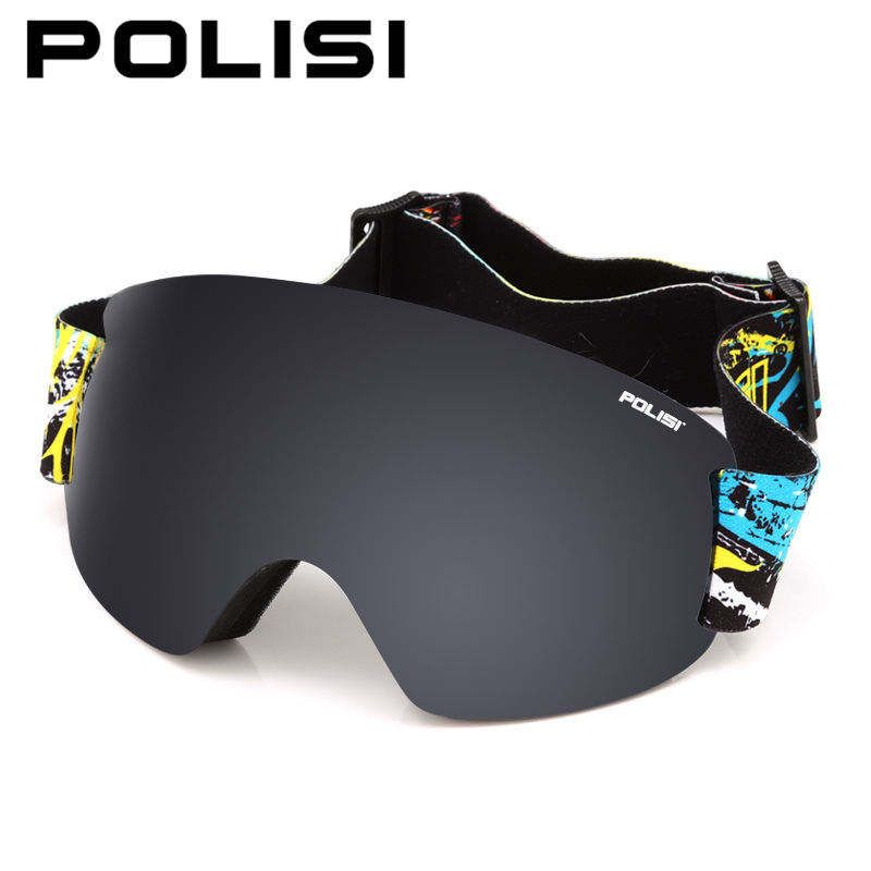 POLISI Professional Ski Goggles Double Layer Lens Anti-Fog UV Protection Skiing Eyewear Winter Snowboard Snow Glasses, Gray Lens polisi brand new designed anti fog cycling glasses sports eyewear polarized glasses bicycle goggles bike sunglasses 5 lenses