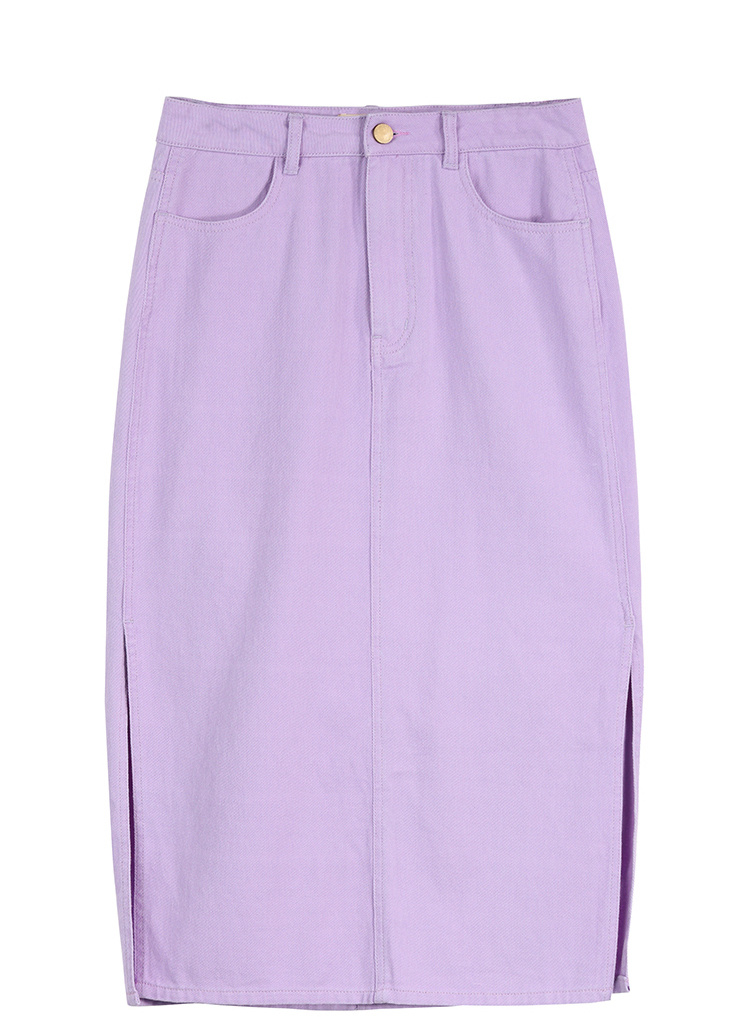 Sams Tree Women Denim Skirts Summer 19 Vintage Solid Straight Office Lady Long Skirt Pencil Mid-Calf Femme High Waist Bottoms 13