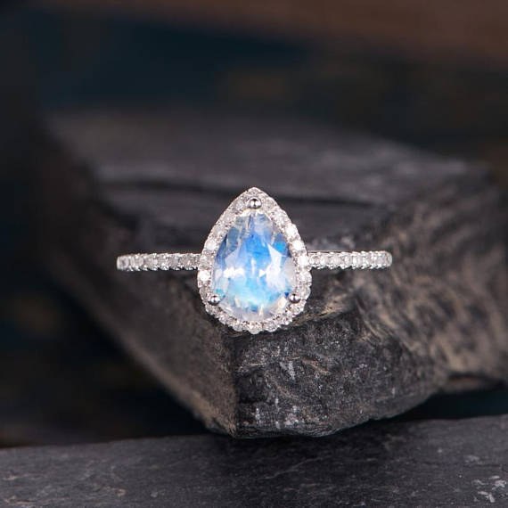 Moonstone Engagement Ring Pear Shaped Rose Gold Ring