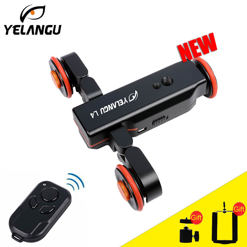 Yelangu L4 Remote Control Electric Video Dolly 3-Wheel Pulley Car Rail Rolling Track Slider Dolly For Smart Phone DSLR Camera flexible electric dolly 3 wheel pulley car rail rolling track slider skater dolly for dslr camera camcorder smart phone max 6kg