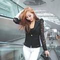 2016 Mulheres Casaco de renda formal wear trenkot transparente Gauze patchwork preto trench coat sobretudo burderry