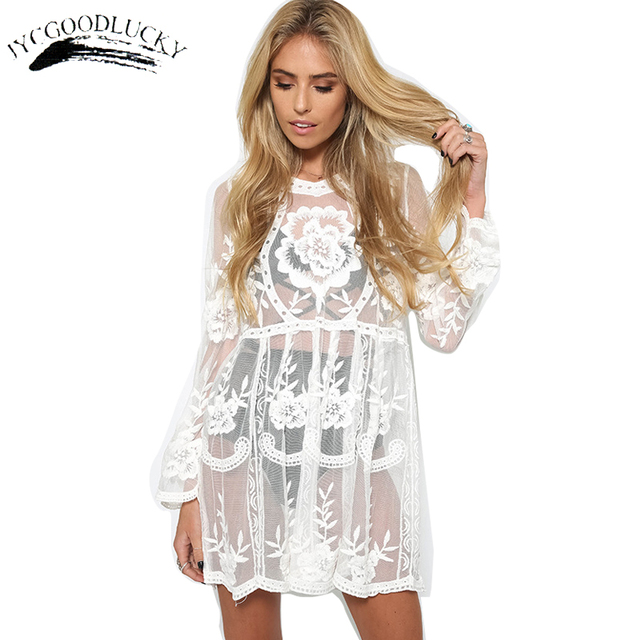 9c77e2f80232 Lace Women Dress Sexy Beach Dresses Women Hollow Out Crochet Elegant White  Dress Plus Size Clothing Long Sleeve Summer Dresses