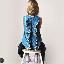 Hot 2016 Baby Girls Denim Ruffle Shirts Kids Girl Wash Blue Jumper Tops Babies Summer Fashion Jean Blouse Children's Clothing