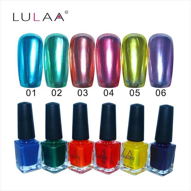 1PCS 6 Colors Mirror Nail Art Nail polish Varnish Top Coat Metallic ...