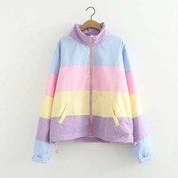 2018 Winter crop top New Japanese Harajuku kawaii candy cute rainbow matching color short jacket thin Hooded coat female