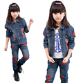 2016 New Autumn Girls Clothing Sets Kids Red lips Denim Jackets&Jean pants 4~12Y Children's Jean Coat Fashion Kids Costume SC606