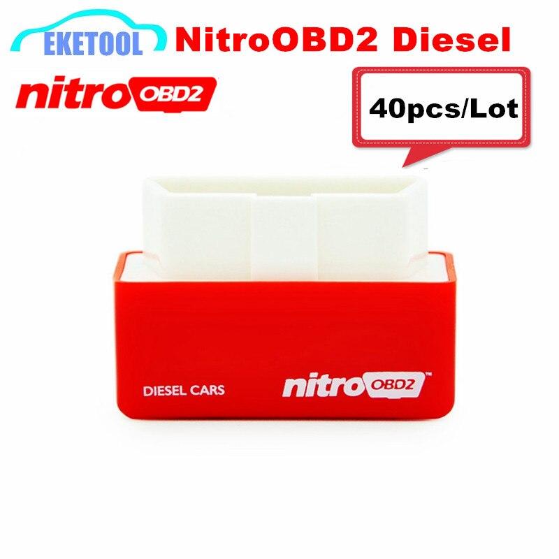 Prix pour 40 pcs/Lot Grand Augmenter les Performances Moteur NitroOBD2 Diesel Rouge Auto Professionnel ECU Chip Tuning NITRO OBD2 Plug & Driver