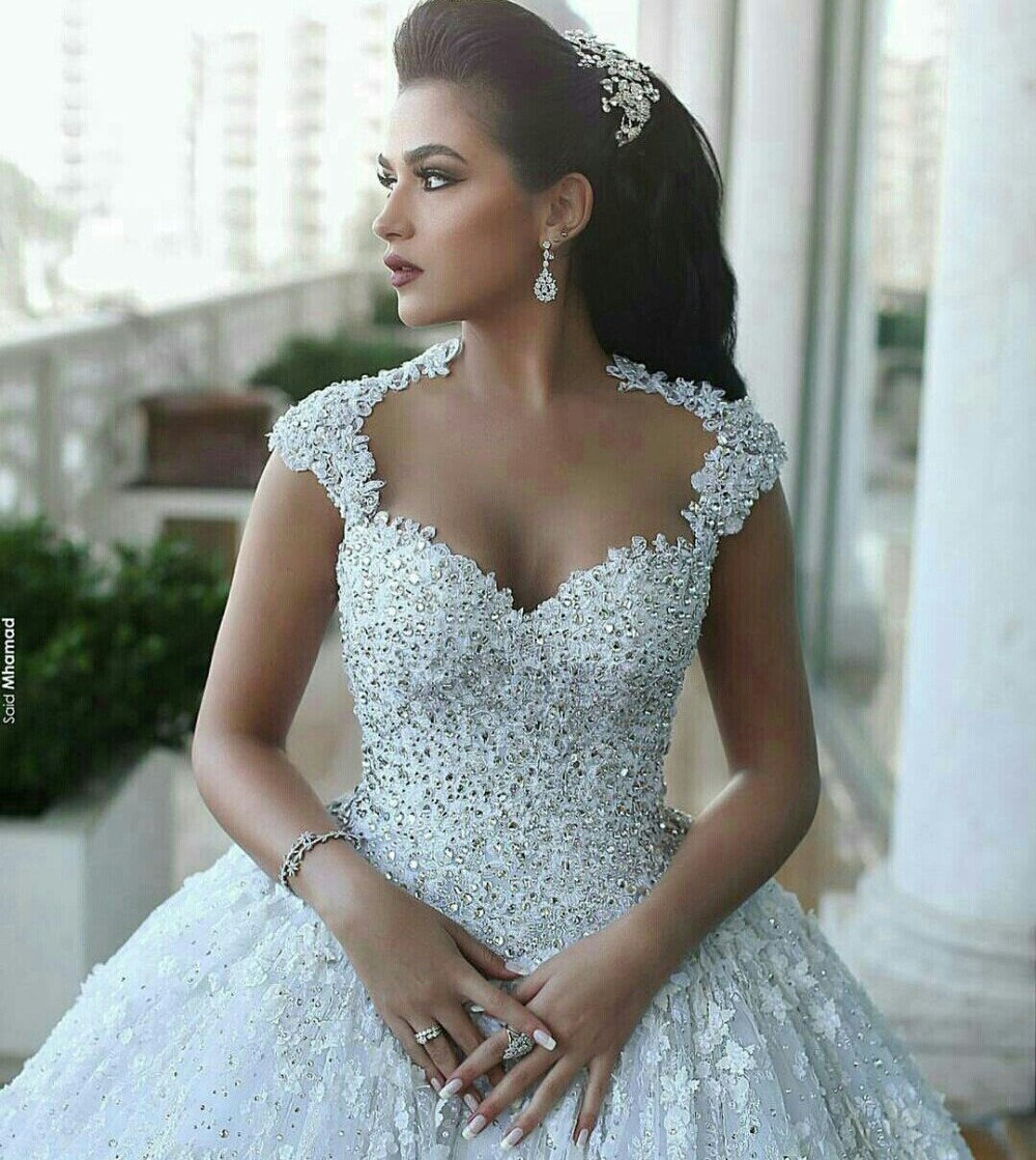 Arabic Wedding Dresses Ball Gown Backless 3D Floral Appliques ...