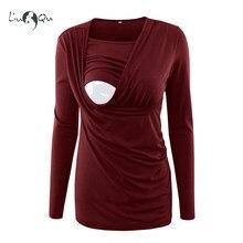 5e30c36a15b08 Women Maternity Clothes Breastfeeding Nursing Pregnancy Long Sleeve T-Shirt  Tops Simple Comfy Maternity Clothing