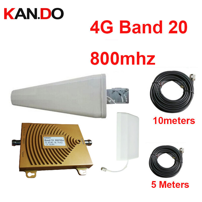 100% Work 4G LTE 800mhz Signal Booster W/ Cable Antenna 65dbi 791-821&832-862 FDD 4G Repeater Band 20 Phone Amplifier For Euro