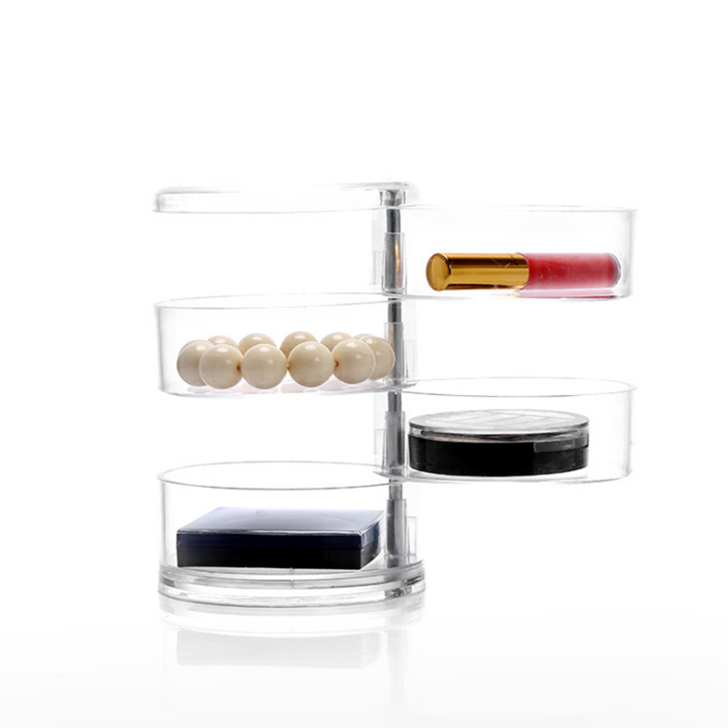 Multi-Layer Rotatable Transparent Cosmetic Case Acrylic Jewelry Cassette Desktop Storage Box @ME88