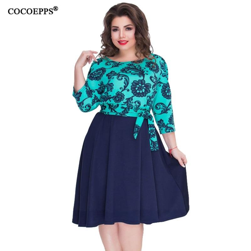 3bdd02eee741 COCOEPPS Outono Nova Floral Impressão Patchwork As Mulheres Se Vestem Tamanho  Grande 5XL 6XL Verde Vestido 2019 de Moda Feminina Plus Size Escritório ...
