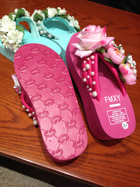 summer rose floral beach wedges flip flops slippers flower shoes house home women wedge flipflops bow platform sandals flop p183