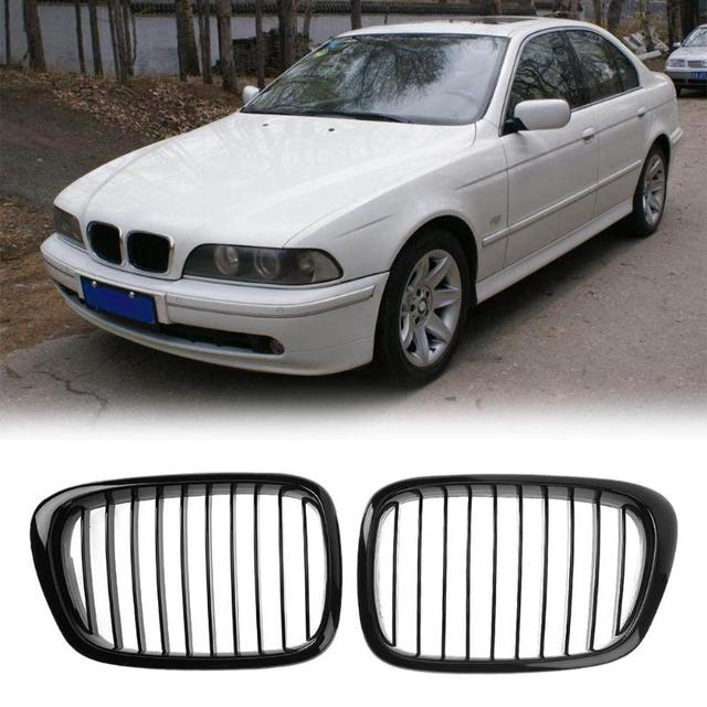 2pcs Front Sport Hood Kidney Grille Grilles For Bmw E39 97 03 Gloss