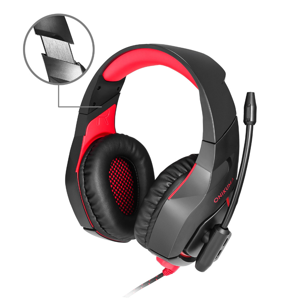 ONIKUMA K1 PS4 Gaming Headphone With Mic Casque LED Light for PS4 New Xbox One Computer PC Gamer Noise-cancelling Gaming Headset huhd 7 1 surround sound stereo headset 2 4ghz optical wireless gaming headset headphone for ps4 3 xbox 360 one pc tv earphones