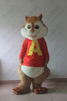 quality plush chipmunk mascot costumes Alvin mascot costumes red shirt squirrel walking actor