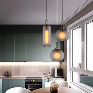 Image 3 - Vintage Postmodern Nordic Pendant Lights Creative Suspended Glass Jar Hanging Lamp Dining room Restaurant Bar Pendant Light