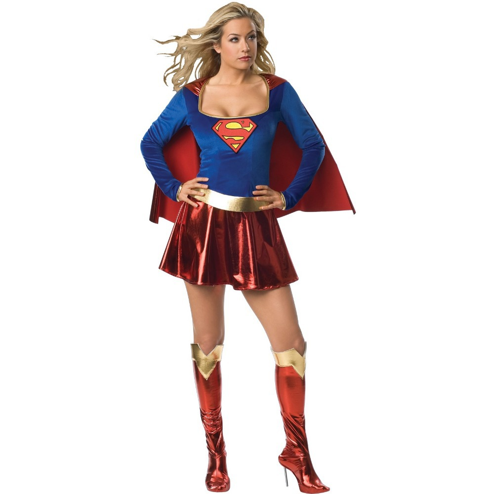 dhl free shipping hot sale ml5202 wholesale halloween adult fancy dress supergirl cosplay costume for women in movie tv costumes from novelty special