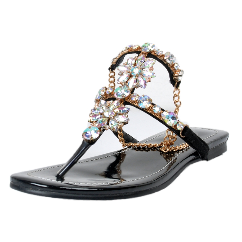 Black Flat Heel Women Sandals Flip Flop Crystals Rubber Sole Ankle Strap Summer Shoes Sandals 2017 Gladiator Rome Style Shoes rizabina lady summer shoes flat heel flip gladiator brief herringbone flip flop flower sandals flat women shoes wd0050 size35 39