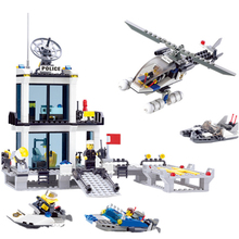 City Police Station Building Blocks Sets Helicopter Ship Model SWAT Creator MOC Figure Bricks Toys for Children Gifts недорого
