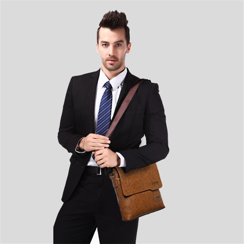 shop JEEP BULUO Man Messenger Bag 2 Set Men Pu Leather Shoulder Bags Business Crossbody Casual Bag Famous Brand with crypto, pay with bitcoin