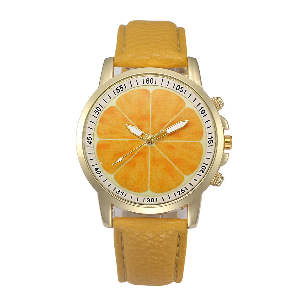 New Fashion Casual Women Watches Orange Pattern Retro Digital Dial Clock Leather Band Womens Quartz Wrist Watch Creative &Ff