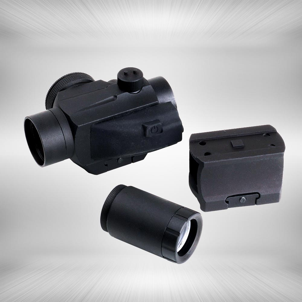 ФОТО Tactical Hunting Red Dot Sight 1x 25mm 2 MOA Dot Scope with 2X Doubler Lens and Weaver-Style Mount Matte