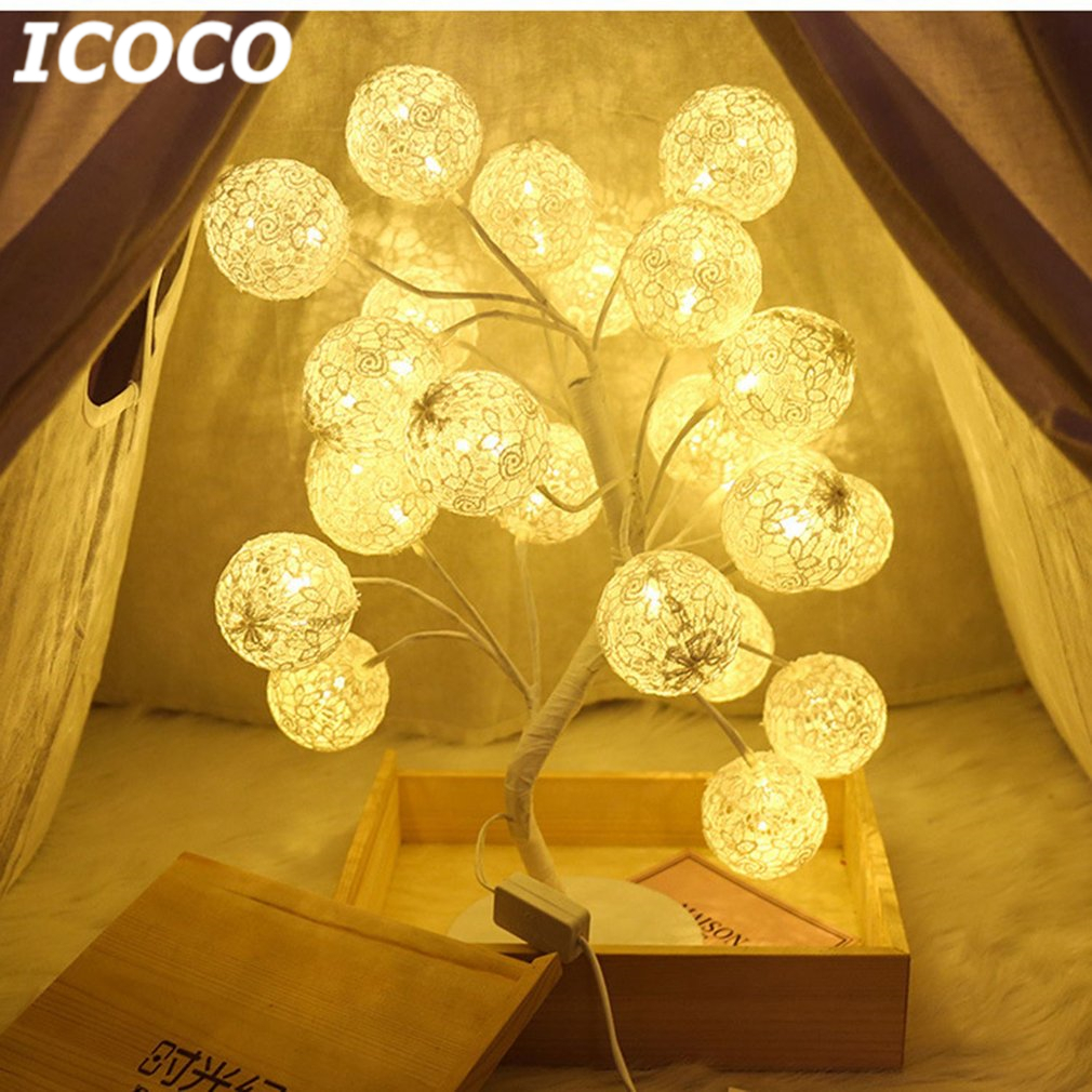 ICOCO 24 LEDs 45cm Romantic Cotton Ball Tree Table Light Desk Lamp for Birthday Christmas Holiday Wedding Party Decor Drop Ship в п смоленцев управление качеством для технических направлений